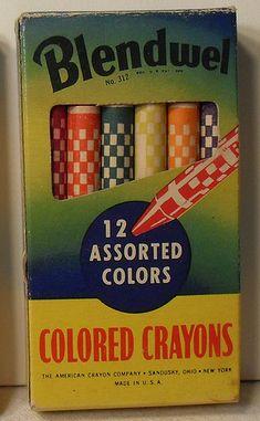 Blendwel Vintage Box of Crayons Vintage Office, Vintage School, Vintage Box, Vintage Ephemera, Retro Vintage, Vintage Stuff, School Items, School Days, Nostalgia Art
