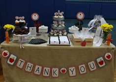 I personally always love seeing what customers can do with free printables from our blog and this party is no exception. Liz from Long Island Style used our FREEBIE Teacher Appreciation Printables for her party! Check out what a phenomenal job Liz did! This table just screams THANK YOU TEACHERS, does it not?! Labeled candy …
