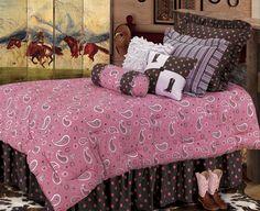 western/cowboy bedding | Pink Paisley Western Twin Bedding Ensemble | Cowgirls Western Bedding