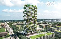 Arquitetura verde - Prédio sustentável com jardim vertical: La Tour dês Cedres (Lausanne, Suíça);