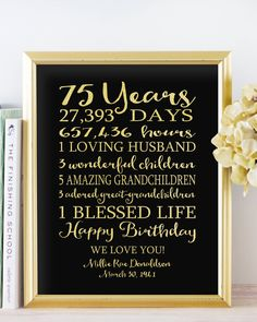 75th BIRTHDAY Sign Birthday Canvas GIFT Personalized 75 Years Dad Grandpa Faux Gold Foil Black OR Keepsake Custom Banner