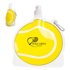Exclusive, unique, reusable BPA-Free tennis ball shaped water bottle made of light-weight easy-to-fold, bendable plastic! Bottle can be collapsed and easily stored away when empty and stands when full. Freezer friendly. Designed for use with cool liquids only. Not microwave or dishwasher safe - hand wash only. United States Design Patent No.: US D699,796 S. WARNING: CHOKING HAZARD--small parts. Not intended for children under 3.