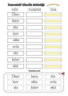 İnteraktif Sözcük Etkinliği - O Sesine Kadar Pre School, Periodic Table, Bullet Journal, Letters, Education, Reading, Note Cards, Periodic Table Chart, Periotic Table