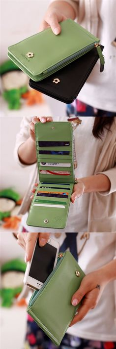US$8.88 20 Card Slots Ultra-thin Card Holders Purse Wallet 5.5inch Phone Bag