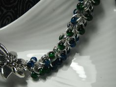 Green and Blue Chainmaille Bracelet by WyndstarCreations on Etsy, $20.00