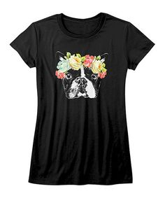Look what I found on #zulily! Black French Bulldog Fitted Tee - Girls #zulilyfinds