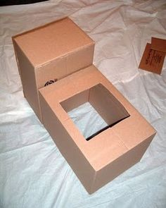 TUTORIAL! Thomas costume from cardboard boxes. Perfect since we have all those moving boxes laying around still. Part I