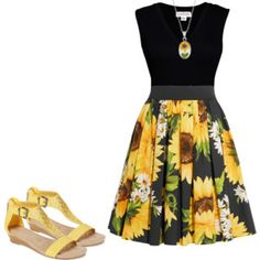 This is a women's fashion group. All sets MUST include a dress or and skirt or they will be removed from the group. Fashion Walk, Fashion Group, Dressy Outfits, Cute Outfits, Sunflower Dress, My Style, Hair Style, Colour Yellow, Color
