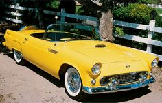 1955 Ford Thunderbird Convertible - My old classic car collection Retro Cars, Vintage Cars, Antique Cars, Ford Thunderbird, Cadillac Eldorado, Yellow Car, Mellow Yellow, Bright Yellow, Ford Classic Cars