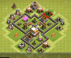 Best Town Hall 4 War, Farming and Hybrid Bases Anti Giants These base designs can defend giants archer and barbarians with ease. Town Hall 4, Clash Of Clans, Farming, Layouts, Base, Design