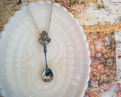 silver spoon necklace tea party spoon silver by Peapodtreasures #spoon #necklace