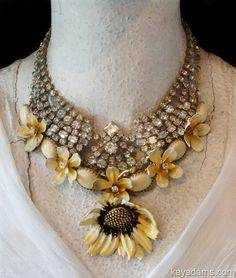 A3778  A great way to mix vintage rhinestone necklace with something less pretentious...together makes an interesting necklace.