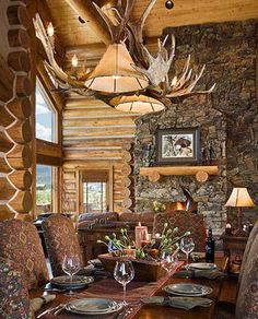 Images of kitchens and dining rooms in our milled log homes, timber frame homes, and handcrafted log homes. Log Cabin Living, Log Cabin Homes, Log Cabins, Mountain Cabins, Timber Frame Homes, Timber House, Log Homes For Sale, Casas Country, Log Home Decorating