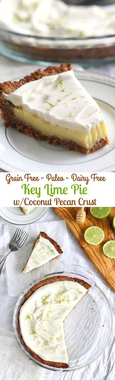 Key Lime Pie with an incredible coconut pecan crust! This addicting pie is grain free, dairy free, Paleo and so creamy and delicious dairy Paleo Key Lime Pie with Coconut Pecan Crust Paleo Dessert, Dessert Sans Gluten, Healthy Sweets, Gluten Free Desserts, Dairy Free Recipes, Vegan Desserts, Paleo Recipes, Real Food Recipes, Dessert Recipes