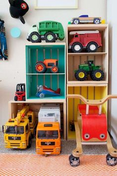 DIY Toy Storage Shelves Learn some fun storage ideas and DIY's to make your boys room decor functional and fun Toy Storage Shelves, Large Toy Storage, Diy Toy Storage, Playroom Organization, Kids Storage, Storage Ideas, Organization Ideas, Truck Storage, Garage Storage