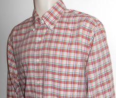 Vtg Gitman Bros L 16.5 / 35 Shirt Red Plaid  #GITMANBROS