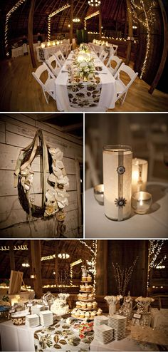 I love these barn wedding reception ideas... :D  I'm a country girl at heart.