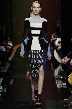 The high slit isn't new, but loving all the pattern at Peter Pilotto.  #lfw #runway #fw2014