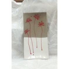Plat à cake Faïence Grise et Fleurs Rouges