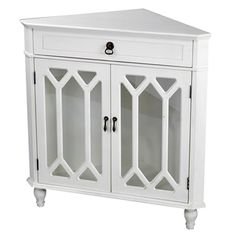 Heather Ann Glass Insert Double Door, Single Drawer Wooden Corner Cabinet | Overstock.com Shopping - The Best Deals on Coffee, Sofa & End Tables