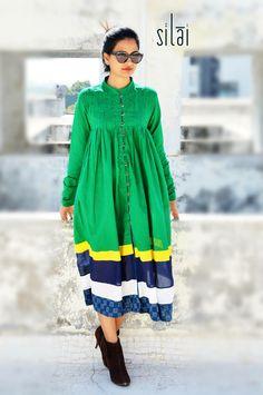 green yoke tunic dress