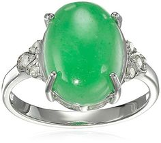 RhodiumPlated Sterling Silver Oval Jade and Diamond Accent Ring Size 7 -- Read more by visiting the link on the image.
