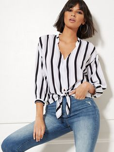 White Stripe V-Neck Tie-Front Blouse - New York & Company Maxi Shirts, Crop Top Shirts, Crop Shirt, Tie Front Blouse, Work Blouse, White V Necks, Outfit Goals, Cute Casual Outfits, Spring Outfits