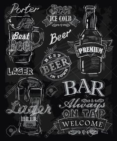 vector chalk beer on chalkboard background by bioraven, via Shutterstock - Chalk Art İdeas in 2019 Chalkboard Lettering, Chalkboard Designs, Chalkboard Art Kitchen, Menu Chalkboard, Chalkboard Markers, Chalk Wall, Café Bar, Chalkboard Background, Beer Background