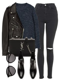 """Untitled #7083"" by laurenmboot ❤ liked on Polyvore featuring Topshop, MANGO, Jakke and Yves Saint Laurent"
