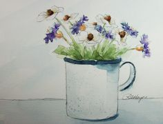 Cornflowers and Cosmos Original Watercolor Painting Floral