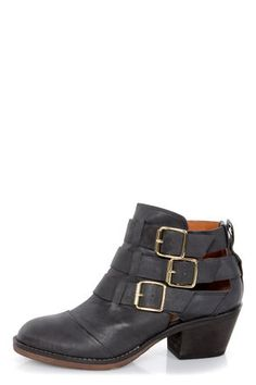 Report Ackley Black Belted Cutout Ankle Boots  $119