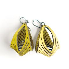 Eyedazzler Leather Earrings in Yellow by oropopo on Etsy, $30.00