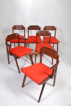 6 Jan Kuypers for Imperial Mid Century Walnut Dining Chairs