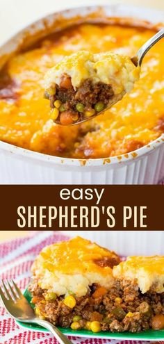 Easy Shepherd's Pie - a simple recipe for the classic comfort food casserole. Meat and vegetables are topped with mashed potatoes and cheddar cheese for a family-favorite dinner that is gluten free too. #cupcakesandkalechips #shepherdspie #groundbeef #stpatricksday #glutenfree via @cupcakekalechip