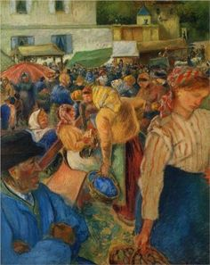 """""""Poultry Market, Pontoise""""  --  1892  --   Camille Pissarro  --  French  --  Oil on canvas  --  Private Collection"""