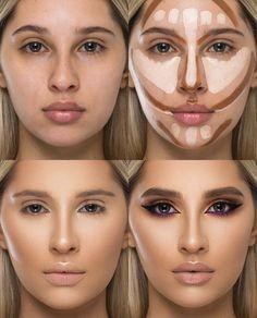 Highlighter Makeup, Contour Makeup, Contouring And Highlighting, Skin Makeup, Beauty Makeup, Face Contouring Tutorial, Contouring For Beginners, Before And After Contouring, Make Up Tricks