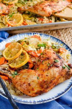Slimming Eats - Slimming World Recipes Syn Free Lemon Garlic Chicken Rice Traybake   Slimming World Recipes