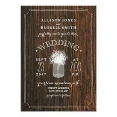 Barn Wood & Baby's Breath Mason Jar Wedding Card