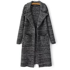Vintage Turn-Down Collar Colormix Printed Thick Wool Coat For Women