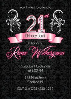 21st Birthday Invitation Party By FabPartyPrints