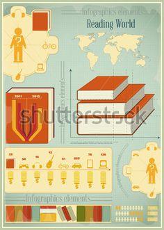 Книги Инфографика Элементы Для Презентаций И Ретро Векторные стоковый вектор - Clipart.me