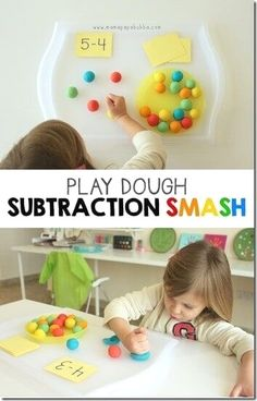 Kids are going to have a blast practicing subtraction with this math games for Toddler, Preschool, and Kindergarten age kids using playdough. Playdough Subtraction Activity for Kids I love fun, hands on math idea! This fantastic Playdough Subtraction Smash from Mama Papa Buba is such a fun, creative way to teach kids about subtraction! Make […] Math Subtraction, Subtraction Activities, Preschool Activities, Toddler Preschool, Numeracy, Indoor Activities, Math Games For Preschoolers, Summer Activities, Subtraction For Kindergarten