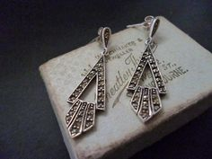 "Vintage sterling silver and marcasite earrings - 925 - Deco style - 1.5"" by MalvernJewellery on Etsy"