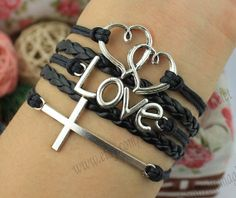 Double heart bracelet love and the cross by themagicbracelet, $4.99