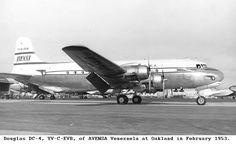 Douglas C-54A-15-DC Skymaster (YV-C-EVB, c/n 10408) of AVENSA (Aerovias Venezolanas S.A.) at Maiquetia Int. airport in February 1953.