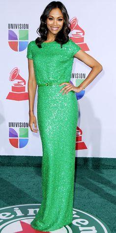 zoe saldana in a sparkly green elie saab gown.