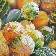 gourd artwork by Joël Simon Watercolor Fruit, Fruit Painting, Watercolor Artists, Watercolor And Ink, Watercolour Painting, Watercolor Flowers, Watercolors, Botanical Art, Botanical Illustration