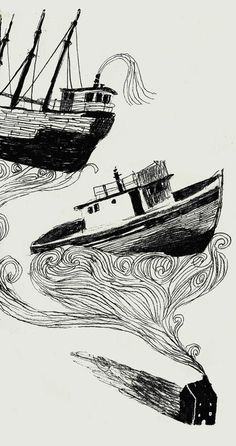 Melissa Castrillon -has a subtle reference to sea tales. lovely lines work creates a stormy feel. Illustration Sketches, Drawing Sketches, Illustrations Posters, Art Drawings, Pencil Drawings, Art Plastique, Love Art, Art Inspo, Painting & Drawing