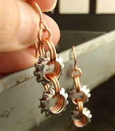 On The Edge Steampunk Chainmaille Earrings in by unkamengifts, $20.00