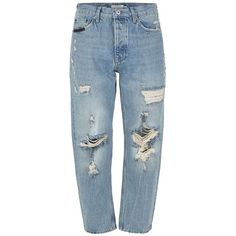 TOPMAN Light Wash Original Ripped Jeans ($60) ❤ liked on Polyvore featuring men's fashion, men's clothing, men's jeans, pants, blue, mens blue jeans, mens high rise jeans, mens button fly jeans, mens light wash jeans and mens long rise jeans